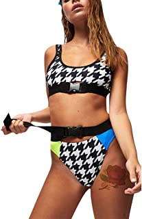 RARITYUS Women Rave Festival Checkered Buckle Crop Top Bikini Bathing Suit Two Pieces Swimsuit for Dance Clubwear Clothing
