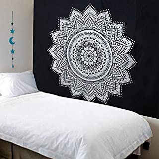 Sungpunet Mandala Bohemian Tapestry Black and White Art Printing Wall Hanging Cloth - Indian Traditional Handicrafts- Wall...