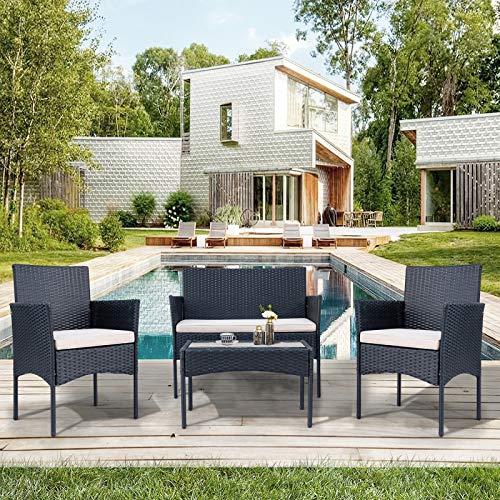 JYCAR Juego de muebles de patio de 4 piezas, juego de charlas al aire libre, juego de bistro, sillas acolchadas y mesa de centro de cristal, para jardín, balcón, porche, piscina