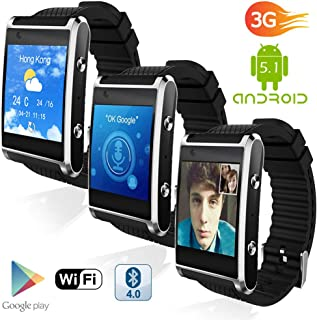 Indigi? Exclusive 3G Unlocked Android 5.1 OS Smart Watch Phone (3G+WiFi) GPS(Maps) + Heart Rate Sensor + Bluetooth 4.0