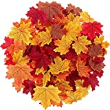 Maple Leaves Artificial Fall Leaves Bulk 400Pcs Assorted Mixed Faux Fall Color...