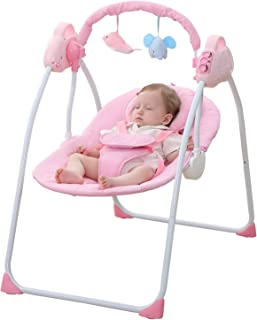WBPINE Baby Swing Cradle, Automatic Portable Baby Rocker Swing Chair with Music (Pink) Without Remote Control