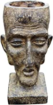 SDBRKYH Garden Sculpture Flower Pot, Creative Head Planter Retro Old Man Head Flower Pot Statue Vase Garden Ornament