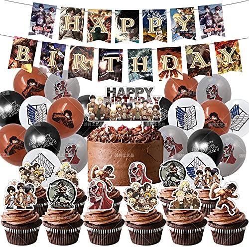 Lot de 50 décorations de gâteau d'anniversaire « Attack on Titan » - 8 ballons - 28 x 43 cm - PT-SC-37