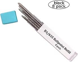 Ballpoint Metal D1/635 Refill for Multifunction Pen, Medium Point Black Ink Refill for Pocket Pen -(Black Refill 8 pack)