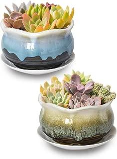 Dahlia 5.5'' Set of 2 Rustic Drip Glazed Ceramic Planter/Succulent Pot/Plant Pot, Green/Turquoise