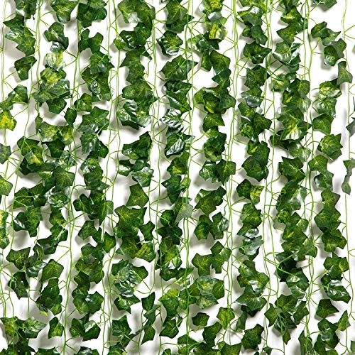 BEJOY Artificial Ivy Garland, 12 Pack 96 Ft Fake Hanging Vine Plant Greenery Leaf Garland Artificial Foliage for Wedding Party Garden Wall Decor