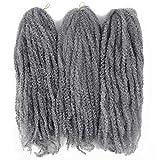 Afro Kinky Twist Crochet Hair Braids Marley Braid Hair 18inch Senegalese Curly Crochet Synthetic Braiding Hair (Grey)
