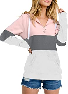 Hoodies for Women Pullover Long Sleeve Color Block 1/4 Zip Casual Sweatshirts with Pockets