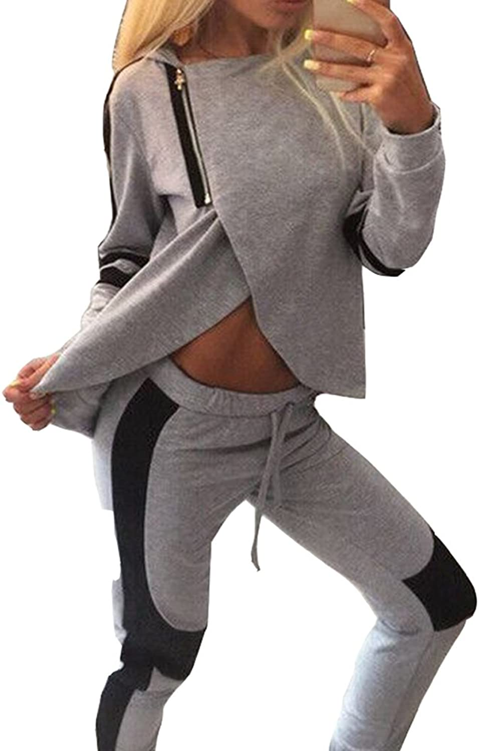 Bodycon4U Women's Tracksuit Sweat Suit Sport Athletic Hoodie and Pant Set Gym Outfit