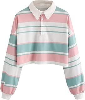 Womens Teen Girls Colorblock Casual Drop Shoulder Striped Lapel Button Crop Pullover Sweatshirt Top Blouse