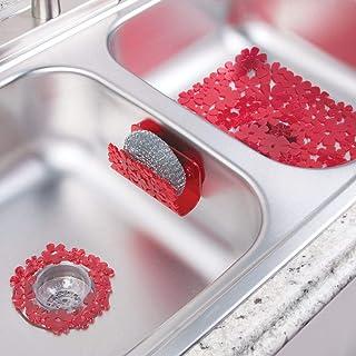 comprar comparacion mDesign Juego de 3 Accesorios de Cocina de plástico para fregaderos Dobles – Incluye un Filtro para Fregadero, una Rejilla...