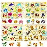 Ulikey Set di 4 Puzzle in Legno per Bambini, Puzzle Animali, Insetti, Vita Marina, Dinosauri, Puzzle Educativo per Apprendimento Montessori Gioco Blocchi di Regalo per Ragazza Ragazzo