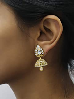 Gold Plated Floral Design American Diamond Stone Jhumka Earring Ethnic Indian Bollywood Festive Jewelry For Women/Girls (AVI185)