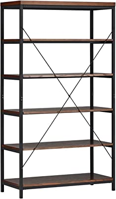 ModHaus Living Industrial Rustic Style Black Metal Frame 6 Tier 40 Inches Horizontal Bookshelf Storage Media