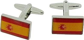 Silvertone Spanish Flag Cufflinks in Presentation Box