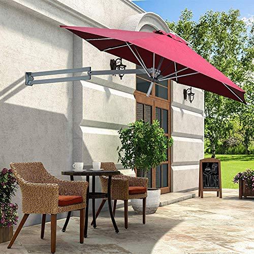 SBDLXY Parasol en voladizo montado en la Pared, Aluminio, Led Solar, Tela de poliéster, Plegable, Telescópico, Paraguas de recreación al Aire Libre, Patio/Jardín/Terraza
