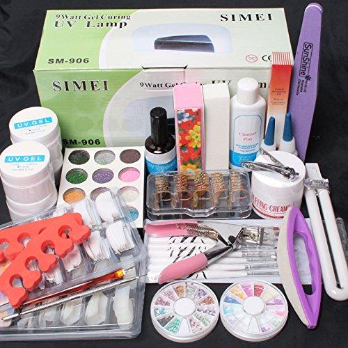 25 in 1 Combo Set Professionele DIY UV Gel Nagel Art Kit 9W Lamp Droger Borstel Buffer Tool Nagel Tips Lijm Acryl Set #30 door RY
