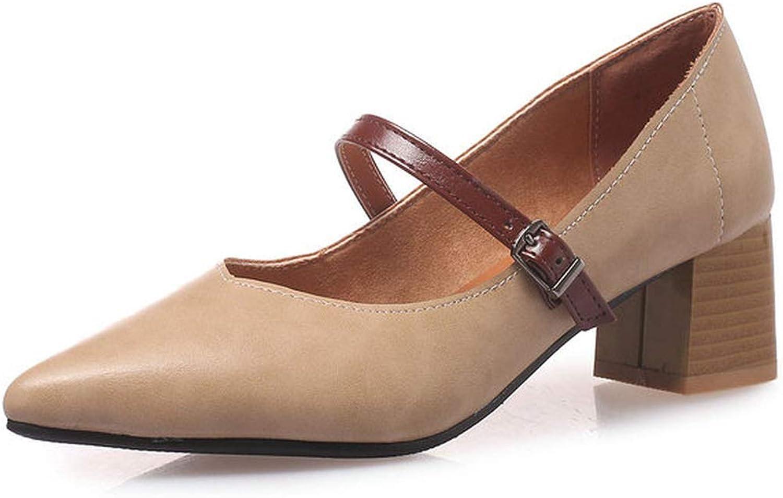 Women shoes Platform Pu Leather Women Pumps Square High Heel Spring Autumn Casual Buckle Pumps