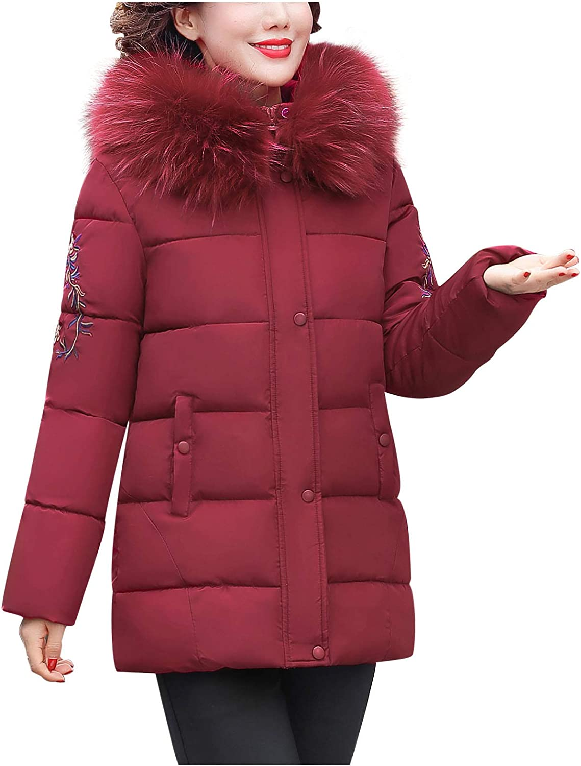 HGWXX7 Womens Overcoat Zip Up Faux Fur Hood Down Jacket Gifts for Mom Plus Size Thickening Winter Coats with Pocket Red