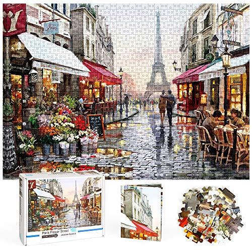 Puzzle 1000 Pezzi, Puzzle Adulti, Puzzle 1000 Pezzi Paesaggi Puzzle Impossible Puzzle Intelligence Giochi Puzzle Famiglia per Adulti Bambini (Puzzle Romantico di Parigi)
