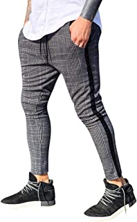 Vibola Men's Casual Pants Elastic Waist Drawstring Straight Slim Fit Plaid Tights Trouser Plaid Ankle-Length Regular Pants