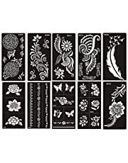 Actie! Tattoo stencils 10 vellen Set G voor lichaam voor henna, glitter tattoo en airbrush tattoo geschikt
