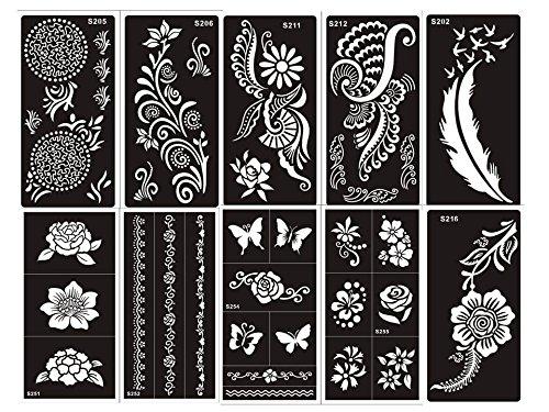 10 fogli Mehndi Tattoo Stencil Mehndi Tatuaggi all'hennè Set G - Usa e getta - Per Tatuaggio all'henné, scintillio tatuaggio e airbrush tatuaggio