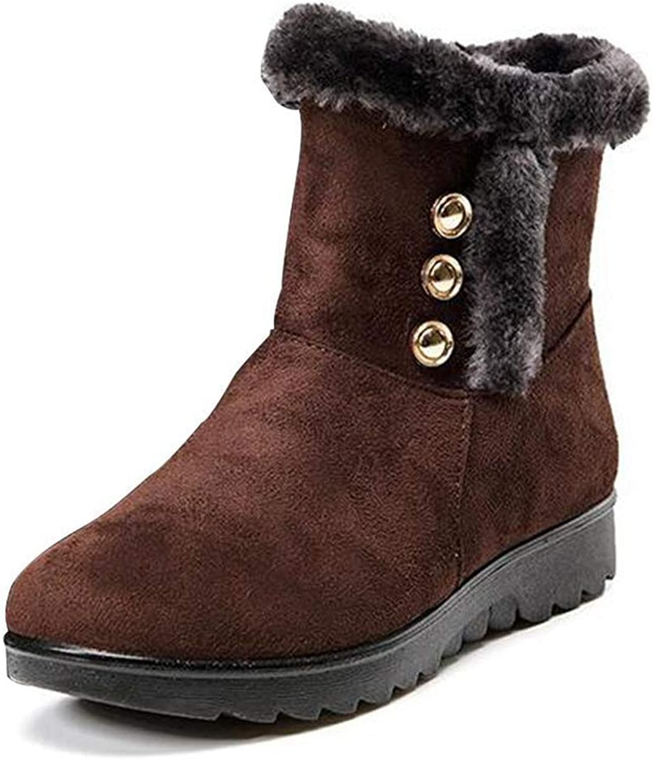 T-JULY Winter Boots Women's Flat Comfortable Ankle Boots Waterproof Non-Slip Button Elderly Casual Warm Soft Snow Boots
