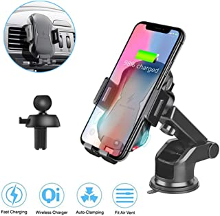Qi Wireless Car Charger, Car Phone Mount Dashboard Cell Phone Holder Vent Phone Holder, Touch Sensor Automatic Open & Clamp, Compatible with iPhone Xs/Max/X/XR/8/8 Plus, Samsung Galaxy Note 9/ S9/ S9+