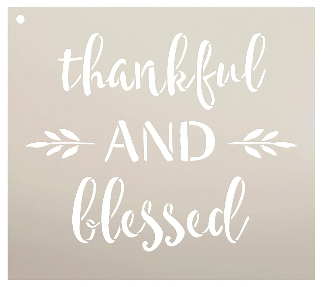 Thankful and Blessed Stencil by StudioR12 | Reusable Mylar Template | Use to Paint Wood Signs - Pallets - DIY Fall & Thanksgiving Decor - Select Size (9