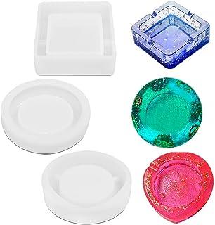 FineGood Lot de 3 moules en silicone pour confection de cendrier, pour une utilisation avec résine époxy, en silicone
