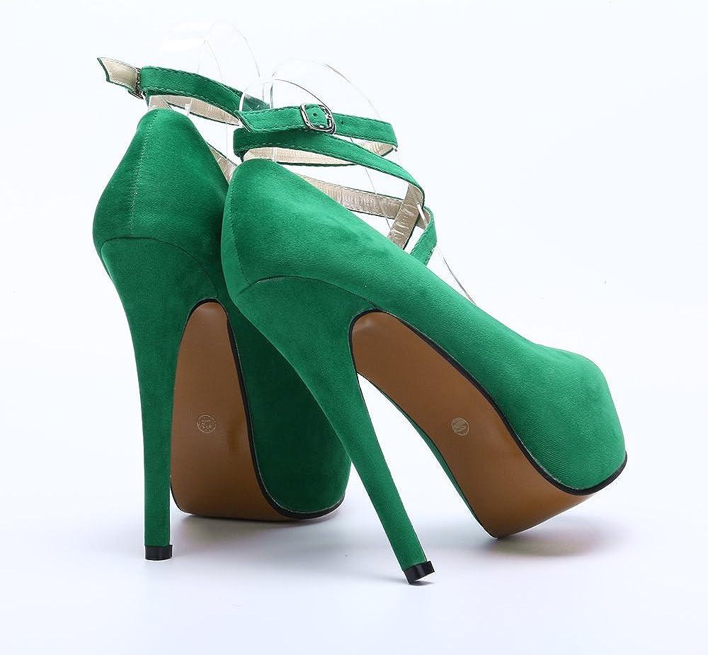 OCHENTA Womens Ankle Strap Platform Pump Party Dress High Heel