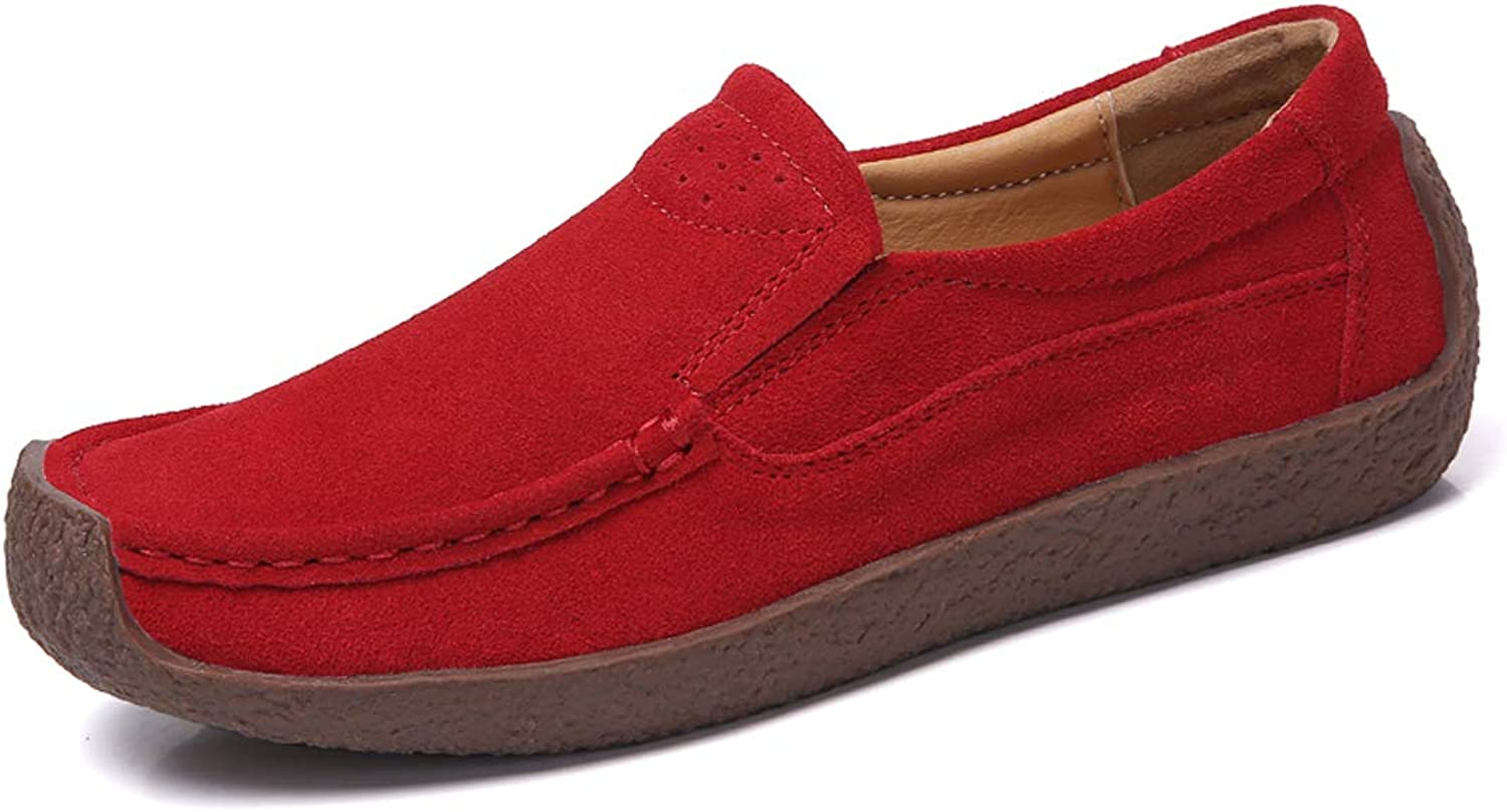 ALLY UNION MAKE FORCE Women's Casual Slip-on Loafers Comfortable Suede Flat shoes