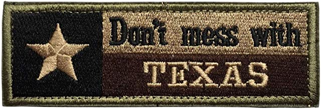 Don't Mess with Texas State Flag Military Tactical Morale Desert Badge Embroidery Patch Premium Embroidered USA Flag for Backpacks Caps Hats Jackets Pants Army Uniform Emblems,Size 4.5