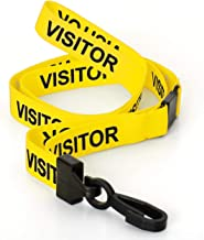 CKB Ltd 50x Yellow Visitor LANYARDS Breakaway Safety Lanyard Neck Strap Swivel Plastic Clip for ID Card Holder - Pull Quick Release Design