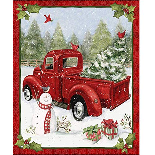 Red Truck Christmas Fun 36x44 Panel Snowman Cardinal Gifts Snow Cotton Fabric by Springs Creative