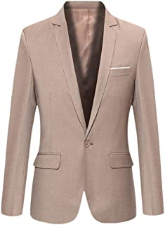 Business Blazer Mens One Button Autumn Winter Fashion Solid Slim Fit Wedding Formal Party Regular Vintage Classic Work Bla...