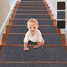 RIOLAND Stair Treads Carpet Non-Slip Indoor 15 PCS Stair Rugs Modern Stair Runners for Kids Dogs, 8