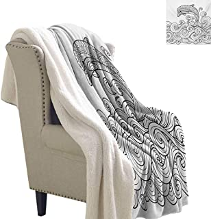 Josepsh Dolphin Cozy Flannel Blanket 60x47 Inch Black and White Zentangle Nautical Image Waves and Animal Jumping Out of Water for Bed/Couch/Chair in Livingroom or Bedroom Black White
