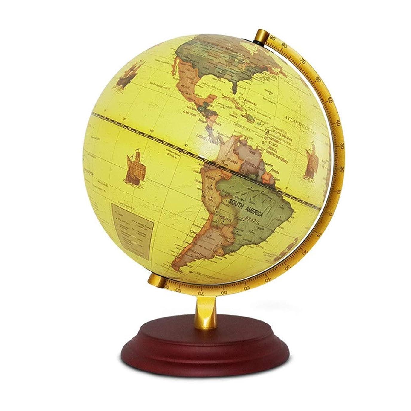 悲観的嫌がらせ可決世界の地球儀 ヨーロッパやアメリカのグローブ中学生レトロルミナスLEDテーブルランプの装飾品 知育玩具 (Color : Beige, Size : Free size)