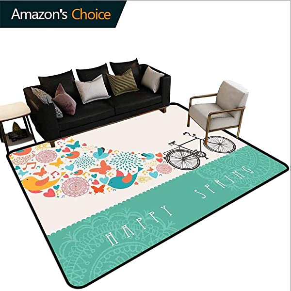 Bicycle Moon Stars Kids Rooms Nursery Decor Mats Happy Spring Themed Bike Concept With Blossomed Bird And Butterflies Fresh Print Easy Maintenance Area Rug Living Room Bedroom Carpet 2 5 X 9
