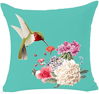 Best Gift Beautiful Oil Painting Hummingbird and Flowers Home Cotton Linen Throw Pillow Case Personalized Cushion Cover New Home Office Decorative Square 18 X 18 Inches