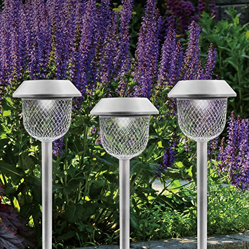 GardenKraft 14439 Solar Powered Garden Path Lights / Pack of 6 / Stainless Steel / Diamond Patterned Mesh Lampshade / Auto-On / 36CM Tall