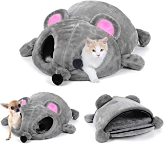 LIZONGFQ Cat Bed Grey Mouse Shape Small Cats Dogs Cave Bed Removable Cushion,Waterproof Bottom House Gift for Pet Fiber