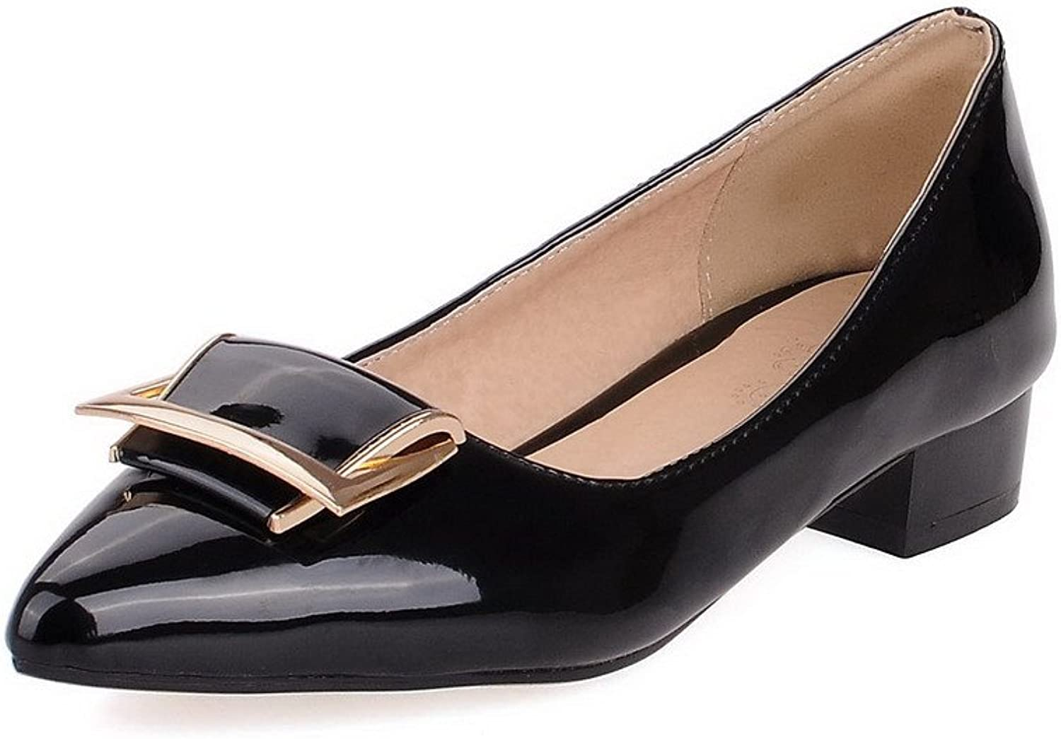 WeiPoot Women's Enamelled Leather Low Heels Pointed Closed Toe Solid Pull On Pumps-shoes