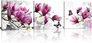 TONZOM 3 Panels Pink Flower Wall Art Picture on Canvas Painting with Stretched over Wood Frames Ready to Hang for Bedroom (12x12inx3)