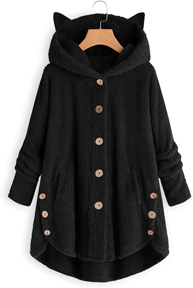 Sauahy Women's Coats Plush Wool Cardigan Long Sleeve Plus Size Button Hooded Winter Warm Jacket Loose Casual Outwear