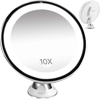 BESTOPE Lighted Makeup Mirror 10x Magnifying Vanity Mirror with 16 LED Lights, 360 Rotation, Cordless, Locking Suction Portable Illuminated Bathroom Mirror