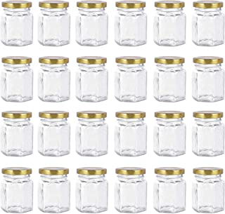 24 Pack Hexagon 3 oz 90 ml Mini Glass Canning Jars Jam Jars with Lids for Sauce,Honey,Candies,Baby Foods,Wedding,DIY Magnetic Spice Jars(Comes with gold lids)